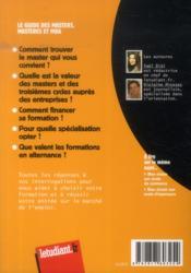 Le guide des masters ; masteres et MBA (11e édition) - 4ème de couverture - Format classique