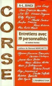 Corse ; entretiens avec 19 personnalités - Couverture - Format classique