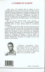 L'Ombre Du Karite - 4ème de couverture - Format classique