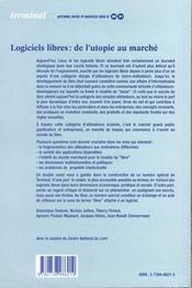 Logiciels libres : de l'utopie au marché - 4ème de couverture - Format classique