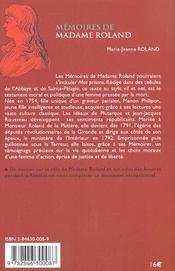 Memoires De Madame Roland - 4ème de couverture - Format classique