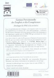 Gestion previsionnelle des emplois et des competences ; developper les pme et les territoires - 4ème de couverture - Format classique