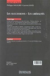 Les successions ; les libéralités (2e édition) - 4ème de couverture - Format classique
