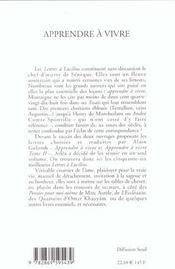 Apprendre A Vivre : Lettres A Lucilius (Ne) - 4ème de couverture - Format classique