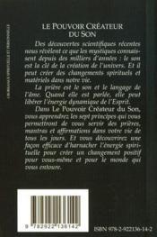 Le pouvoir créateur du son ; affirmations pour créer, guérir et se transformer (2nde édition) - 4ème de couverture - Format classique