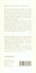 Preludes, Fougasses Et Variations ; Nouvelles Recettes Baroqueuses - 4ème de couverture - Format classique