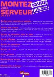 Montez votre serveur de a a z - 4ème de couverture - Format classique