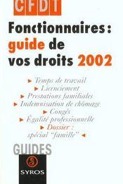 Fonctionnaires Guide De Vos Droits ; Edition 2002 - Intérieur - Format classique