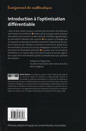 Introduction à l'optimisation différentiable - 4ème de couverture - Format classique