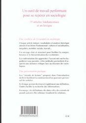 Dictionnaire De L'Essentiel En Sociologie - 4ème de couverture - Format classique