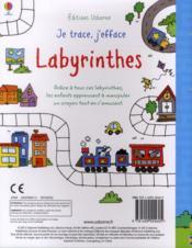 Je Trace, J'Efface ; Labyrinthes - 4ème de couverture - Format classique