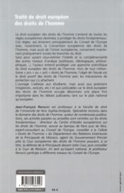Droit européen des droits de l'homme (2e édition) - 4ème de couverture - Format classique