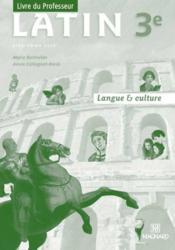 Latin ; 3e ; langue et culture ; livre du professeur - Couverture - Format classique