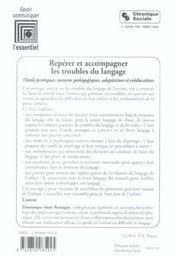 Reperer Et Accompagner Les Troubles Du Langage - 4ème de couverture - Format classique