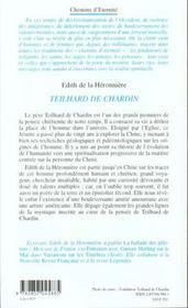 Teilhard de chardin - 4ème de couverture - Format classique