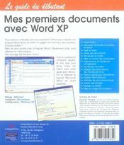 Mes 1ers documents avec word - 4ème de couverture - Format classique