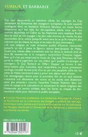 Fureur Et Barbarie - 4ème de couverture - Format classique