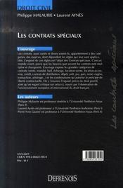 Droit civil ; les contrats speciaux (3e édition) - 4ème de couverture - Format classique