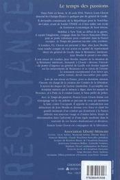 Le Temps Des Passions - 4ème de couverture - Format classique