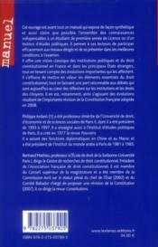 Institutions politiques et droit constitutionnel (24e édition) - 4ème de couverture - Format classique