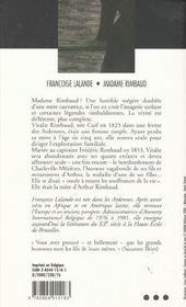 Madame Rimbaud - 4ème de couverture - Format classique