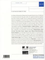 Les Cahiers De La Recherche Architecturale Et Urbaine N.24/25 ; La Critique En Temps Et Lieux - 4ème de couverture - Format classique