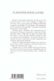 Plaidoyer Pour La Paix - 4ème de couverture - Format classique
