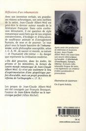 Réflexions d'un inhumaniste ; entretiens avec françois bousquet - 4ème de couverture - Format classique
