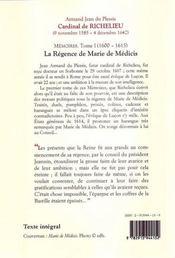 Mémoires t.1 ; (1600-1615) ; la régence de Marie de Medicis - 4ème de couverture - Format classique