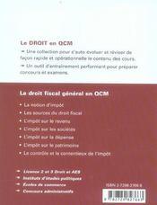 Le Droit Fiscal General En Qcm - 4ème de couverture - Format classique