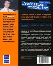 Profession webmaster - 4ème de couverture - Format classique