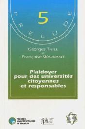 Plaidoyer pour des universités citoyennes et responsables - Couverture - Format classique