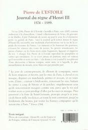 Journal Du Regne D'Henri Iii - 4ème de couverture - Format classique