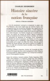 Histoire sincère de la nation française - 4ème de couverture - Format classique