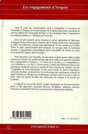 Les Engagements D'Aragon - 4ème de couverture - Format classique