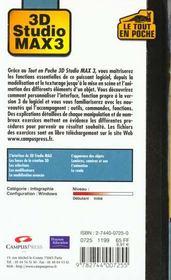 Le Tout En Poche ; 3d Studio Max 3 - 4ème de couverture - Format classique
