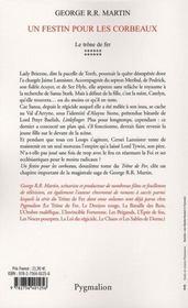 Le trône de fer t.12 ; un festin pour les corbeaux - 4ème de couverture - Format classique