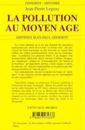La Pollution Au Moyen-Age - 4ème de couverture - Format classique