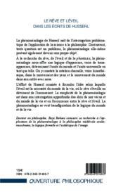 Le rêve et l'éveil dans les écrits de Husserl - 4ème de couverture - Format classique