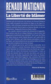 La liberté de blâmer - 4ème de couverture - Format classique