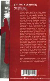 Alain Resnais ; Une Lecture Topologique - 4ème de couverture - Format classique