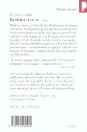 Radieuse Aurore - 4ème de couverture - Format classique