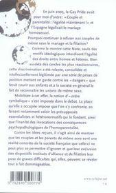 Homosexualite, Mariage Et Filiation - 4ème de couverture - Format classique