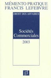 Societes commerciales ; edition 2003 - Intérieur - Format classique