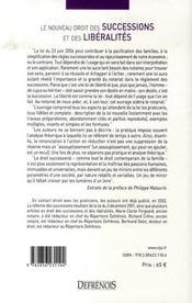Le nouveau droit des successions et des libéralités ; loi du 23 juin 2006 - 4ème de couverture - Format classique