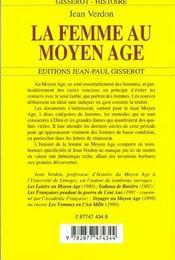 La Femme Au Moyen-Age - 4ème de couverture - Format classique
