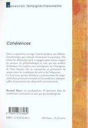Coherences De L'Unite Aux Harmonies Du Soin - 4ème de couverture - Format classique