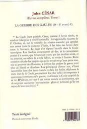 Oeuvres complètes t.1 ; la guerre des Gaules - 4ème de couverture - Format classique