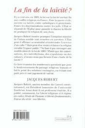 La Fin De La Laicite ? - 4ème de couverture - Format classique