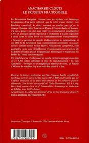 Anacharsis Cloots, le prussien francophile ; un philosophe au service de la Révolution française et universelle - 4ème de couverture - Format classique